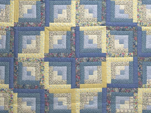 Full Size Blue Yellow and Rose Log Cabin Quilt Photo 3