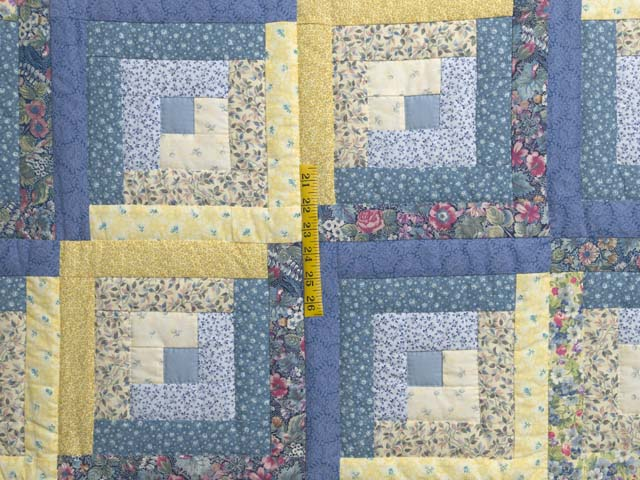 Full Size Blue Yellow and Rose Log Cabin Quilt Photo 4