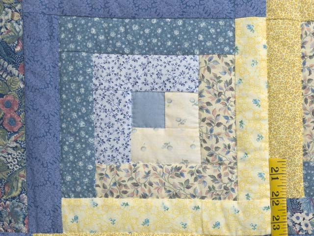 Full Size Blue Yellow and Rose Log Cabin Quilt Photo 5