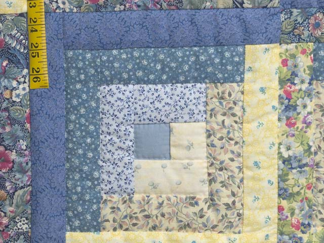 Full Size Blue Yellow And Rose Log Cabin Quilt Photo 6