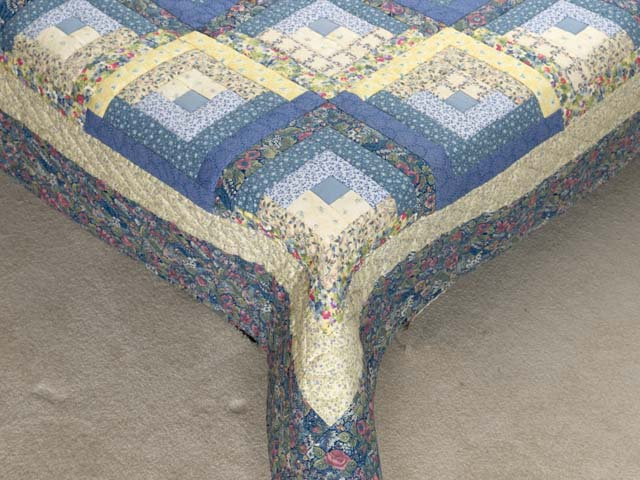 Full Size Blue Yellow and Rose Log Cabin Quilt Photo 7