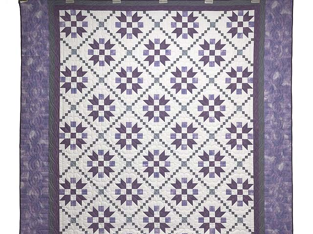 Lavender and Sage Green Folk Art Village Quilt Photo 2