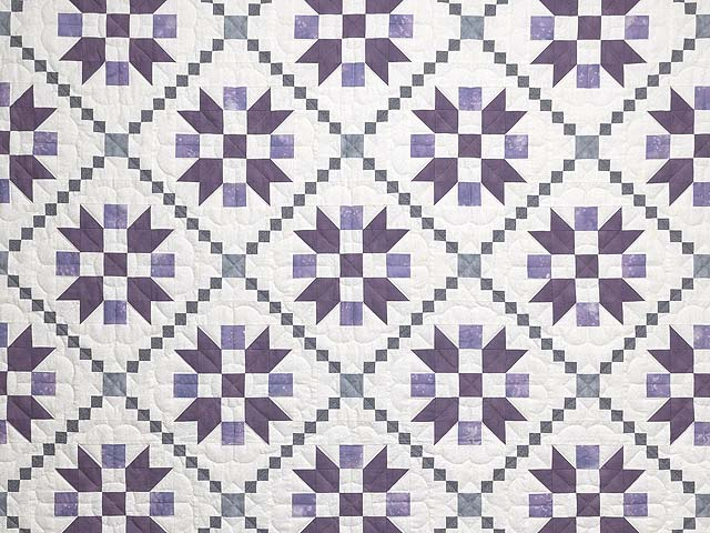 Lavender and Sage Green Folk Art Village Quilt Photo 3