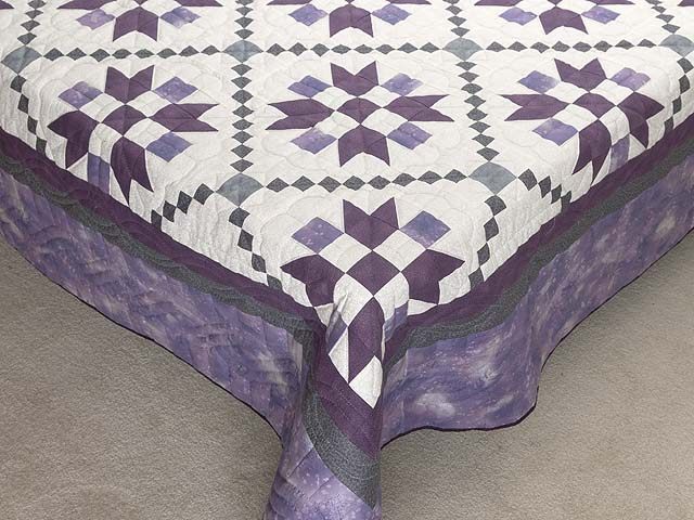 Lavender and Sage Green Folk Art Village Quilt Photo 7