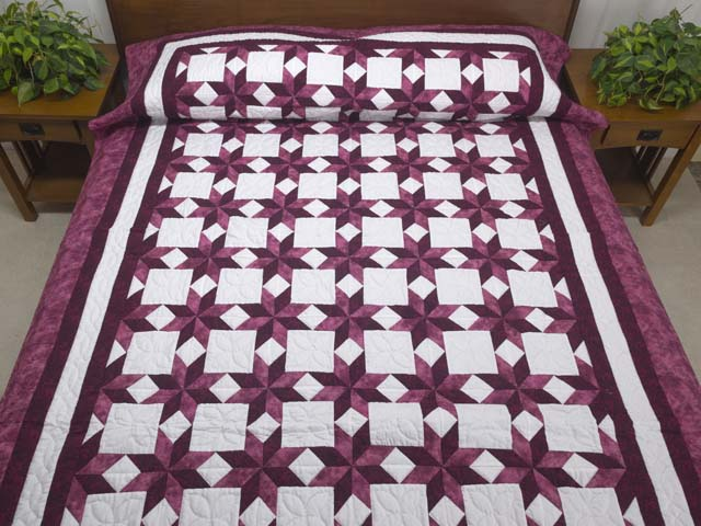Twin Rose and Cream Little Stars Quilt Photo 1