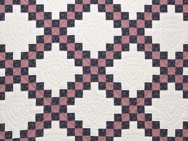 Twin Rose Black and Cream Irish Chain Quilt Photo 3