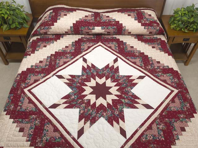 Red and Cream Lone Star Log Cabin Quilt Photo 1