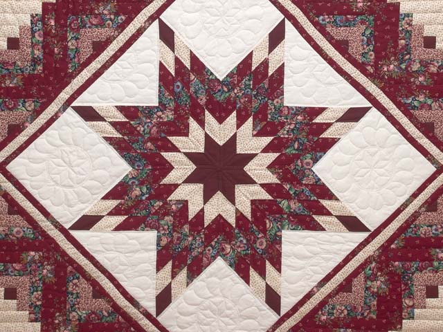 Red and Cream Lone Star Log Cabin Quilt Photo 3