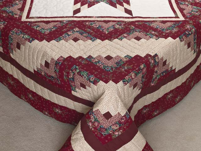 Red and Cream Lone Star Log Cabin Quilt Photo 7