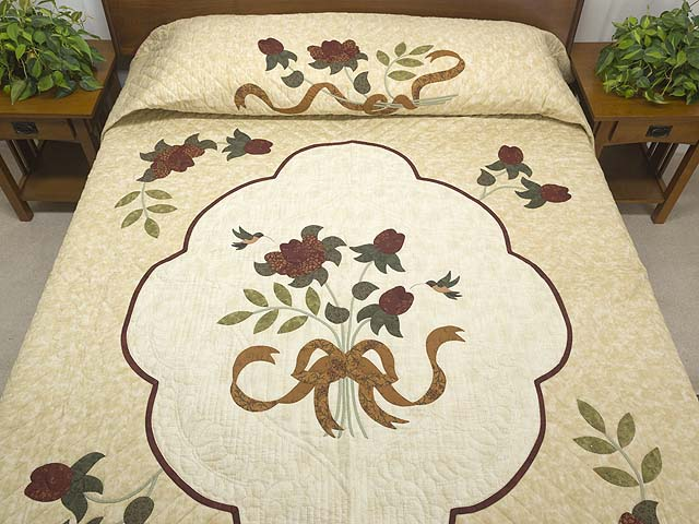 Brick Red Gold and Sage Green Lancaster Treasures Quilt Photo 1