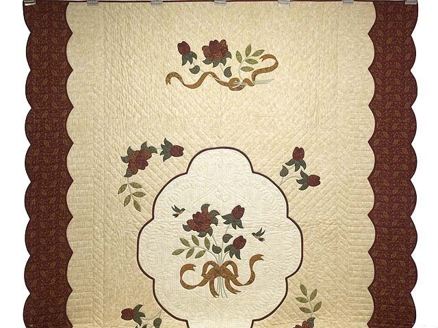 Brick Red Gold and Sage Green Lancaster Treasures Quilt Photo 2