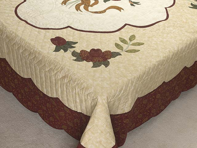 Brick Red Gold and Sage Green Lancaster Treasures Quilt Photo 7