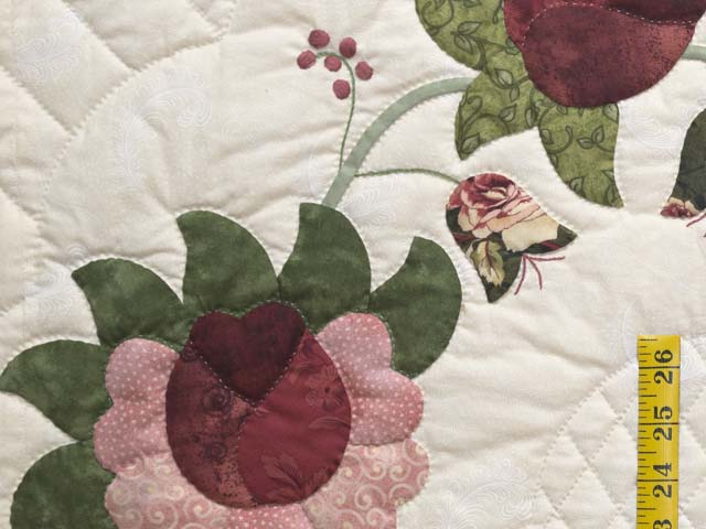 King Dark Green and Rose Heart of Roses Quilt Photo 5