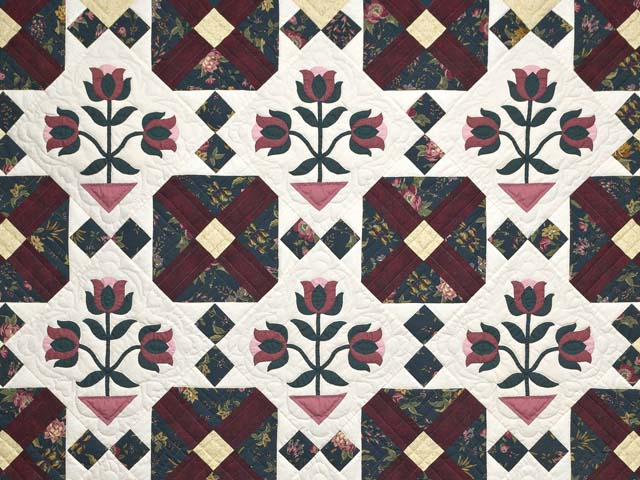 Dark Green Burgundy and Tan Tulip Medley Quilt Photo 3