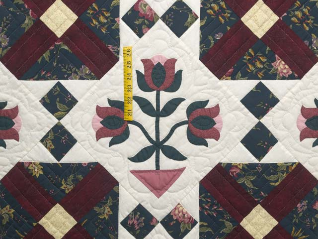 Dark Green Burgundy and Tan Tulip Medley Quilt Photo 4