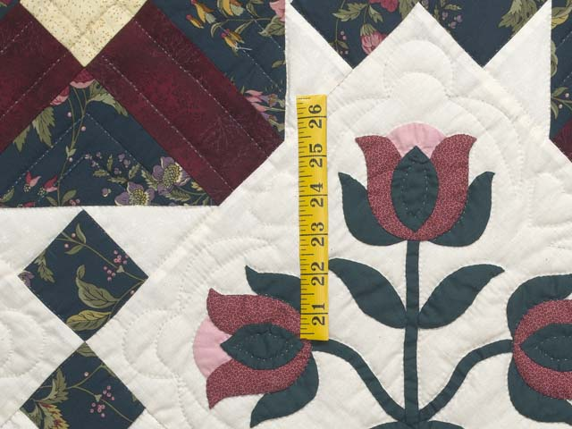 Dark Green Burgundy and Tan Tulip Medley Quilt Photo 5