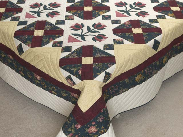 Dark Green Burgundy and Tan Tulip Medley Quilt Photo 7