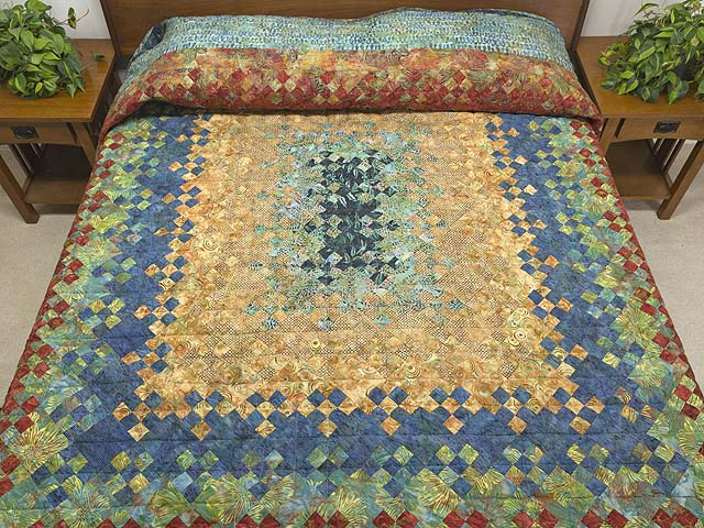King Golden Multicolor Blooming Nine Patch Quilt Photo 1