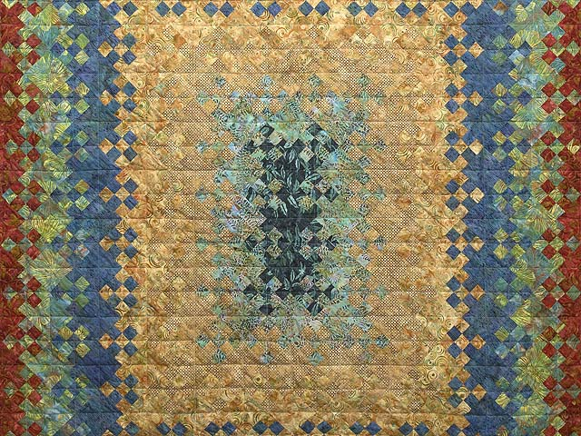King Golden Multicolor Blooming Nine Patch Quilt Photo 3