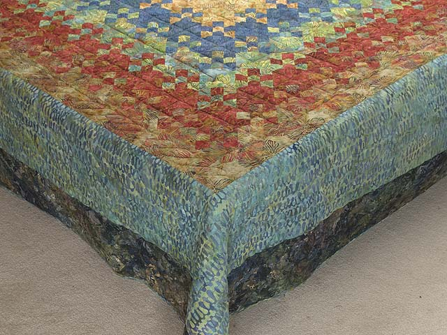 King Golden Multicolor Blooming Nine Patch Quilt Photo 7