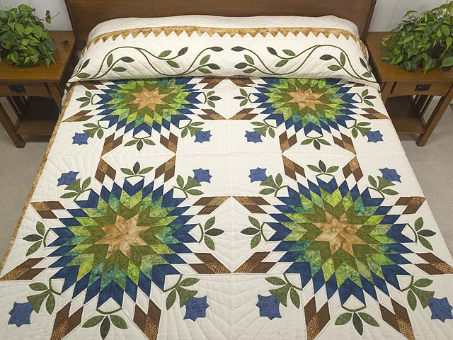 King Gold Blue and Green Starburst Quilt Photo 1