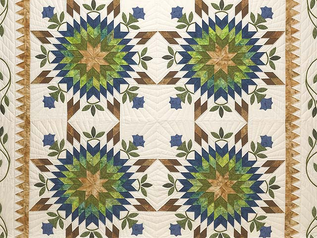 King Gold Blue and Green Starburst Quilt Photo 3