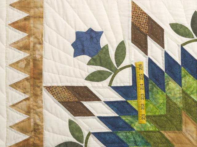 King Gold Blue and Green Starburst Quilt Photo 4