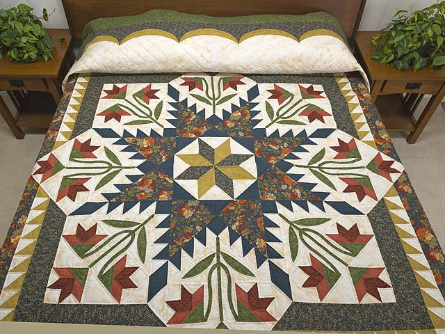 King Green Navy and Golden Tan Blooming Star Quilt Photo 1