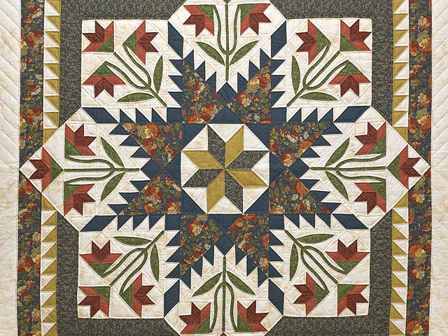 King Green Navy and Golden Tan Blooming Star Quilt Photo 3