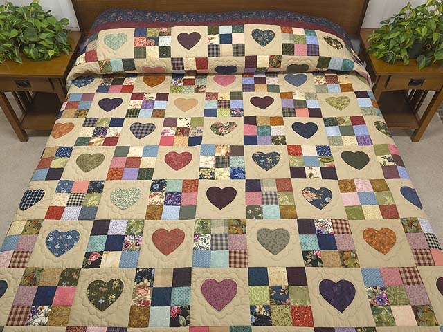 King Navy and Burgundy Hearts and Nine Patch Quilt Photo 1