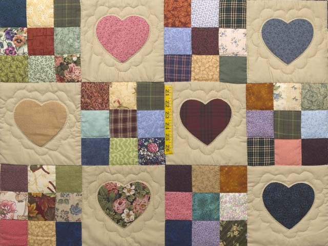 King Navy and Burgundy Hearts and Nine Patch Quilt Photo 4