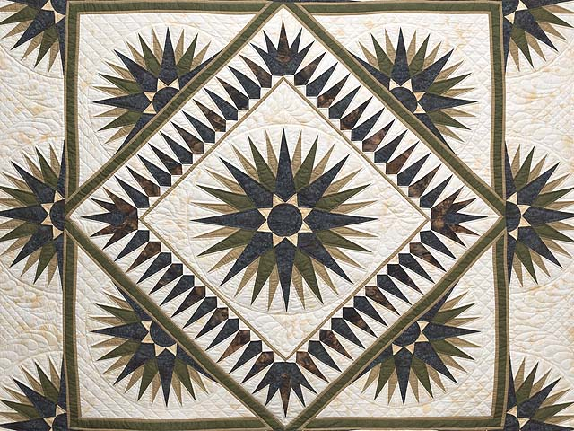 Navy Moss and Gold Compass Reflections Quilt Photo 3