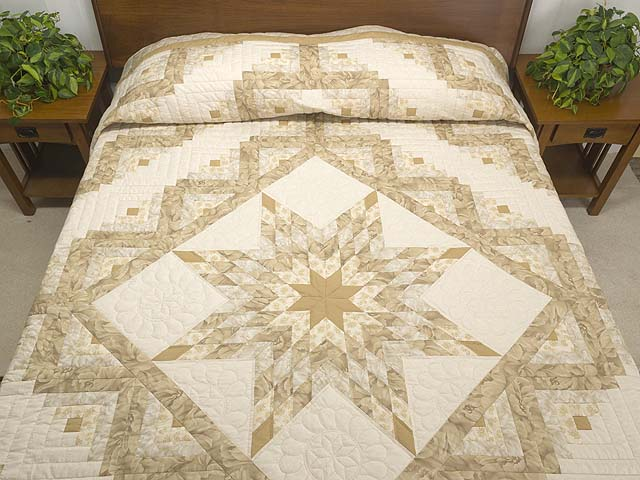Beige Lone Star Log Cabin Quilt Photo 1