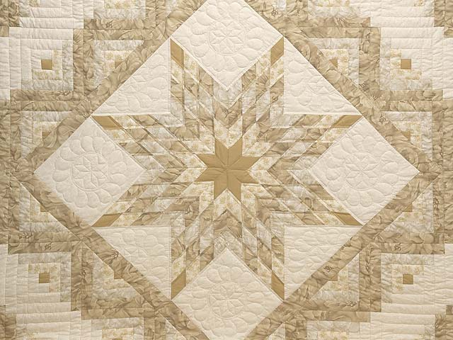 Beige Lone Star Log Cabin Quilt Photo 3