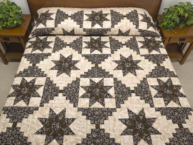 Brown and Golden Tan Dahlia Log Cabin Quilt Photo 1