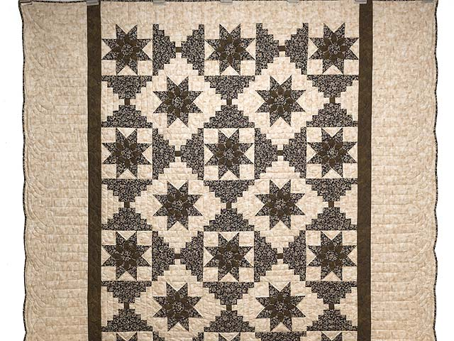 Brown and Golden Tan Dahlia Log Cabin Quilt Photo 2