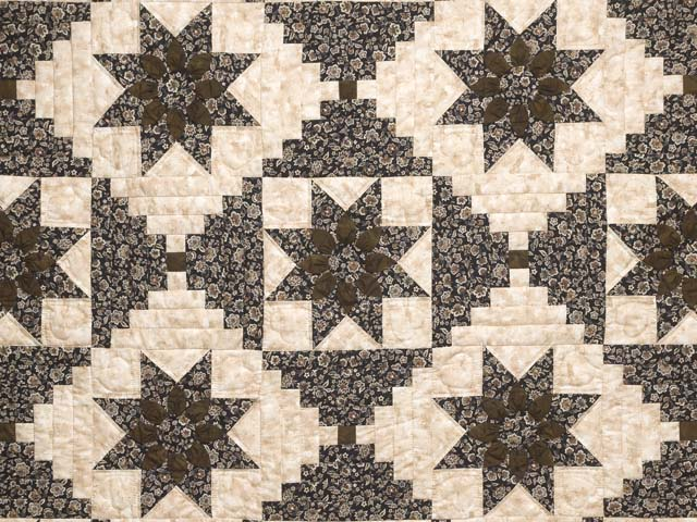 Brown and Golden Tan Dahlia Log Cabin Quilt Photo 3