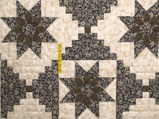 Brown and Golden Tan Dahlia Log Cabin Quilt Photo 4