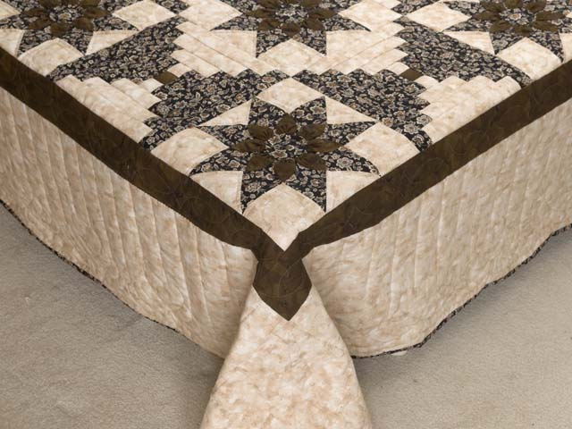 Brown and Golden Tan Dahlia Log Cabin Quilt Photo 7
