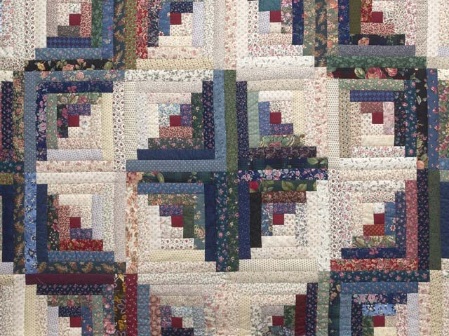 Navy Burgundy and Multi Log Cabin Quilt Photo 3