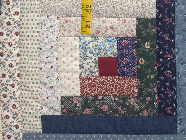 Navy Burgundy and Multi Log Cabin Quilt Photo 6