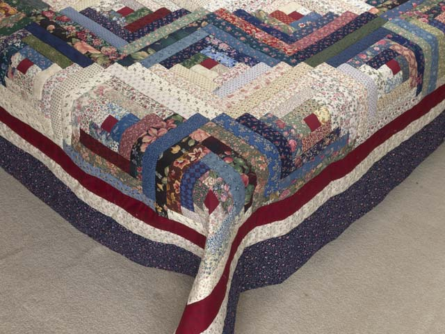 Navy Burgundy and Multi Log Cabin Quilt Photo 7