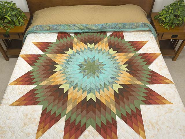 Golden Tan Aqua and Multicolor Radiant Star Quilt Photo 1