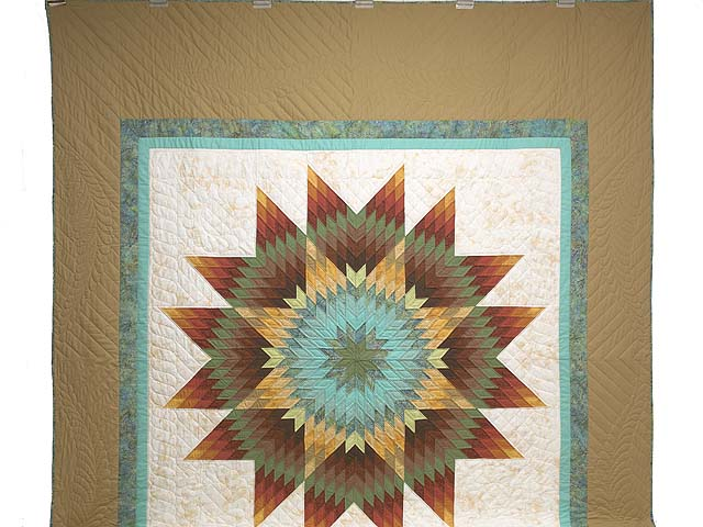 Golden Tan Aqua and Multicolor Radiant Star Quilt Photo 2