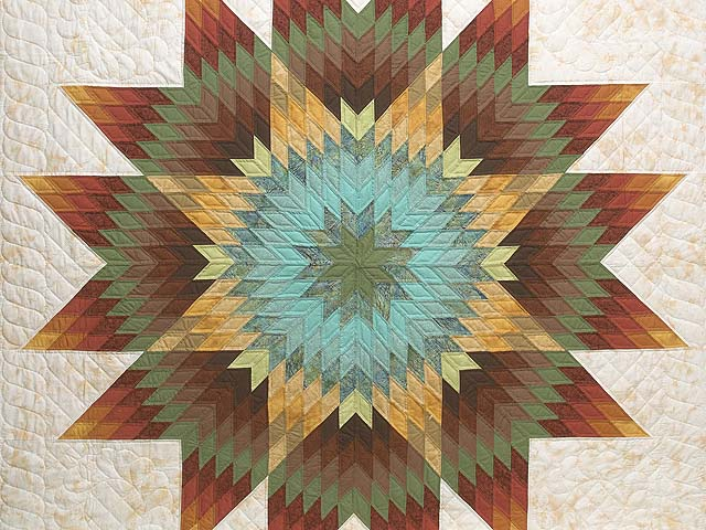 Golden Tan Aqua and Multicolor Radiant Star Quilt Photo 3