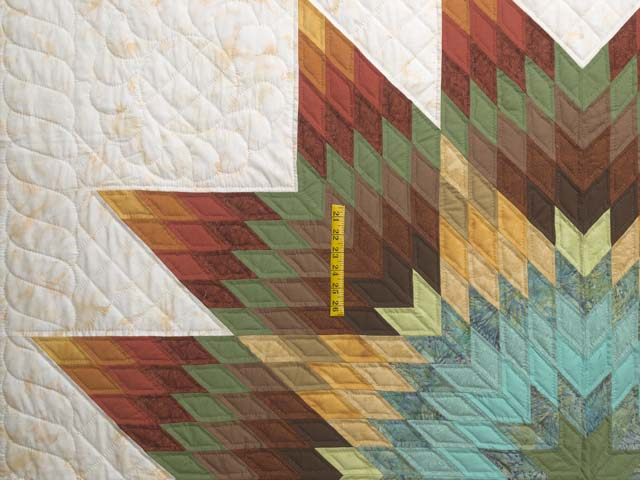 Golden Tan Aqua and Multicolor Radiant Star Quilt Photo 4