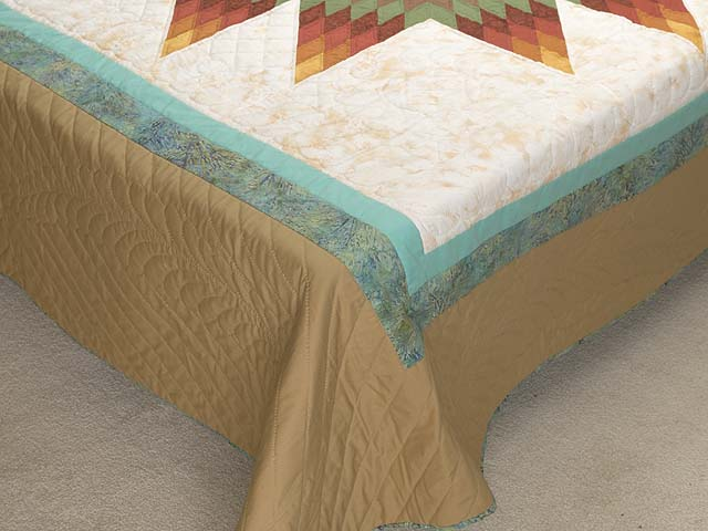 Golden Tan Aqua and Multicolor Radiant Star Quilt Photo 7