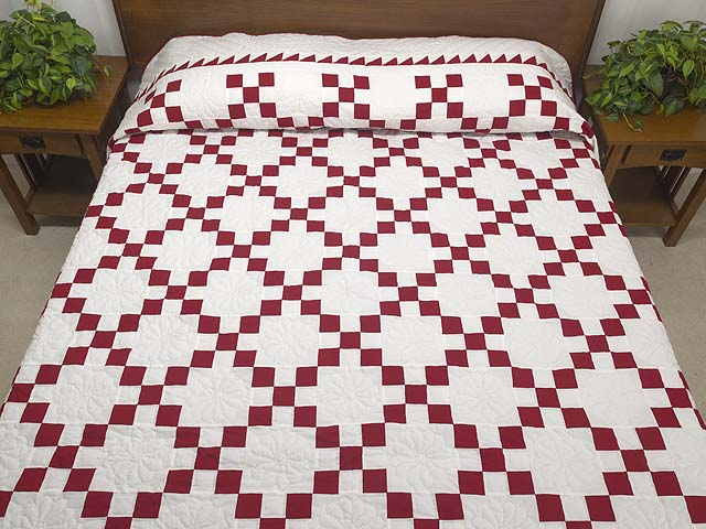 Red and White Nine Patch Quilt Photo 1