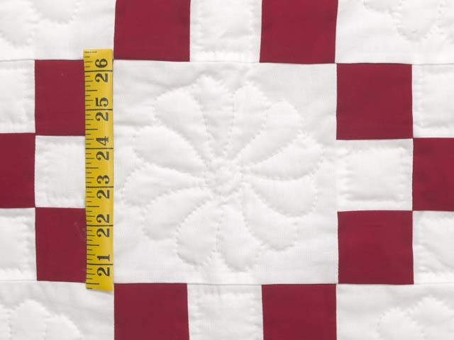 Red and White Nine Patch Quilt Photo 5