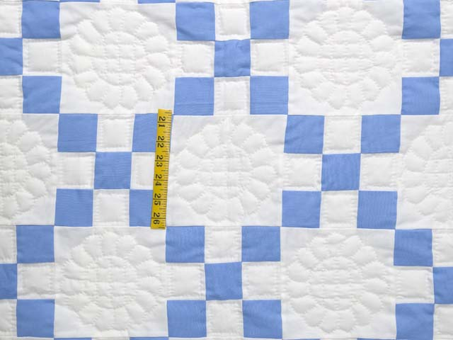 Blue and Cream Nine Patch Quilt Photo 4